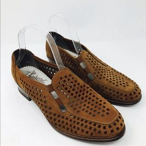 Rieker Antistress Brown Flats Perforated Shoes 41